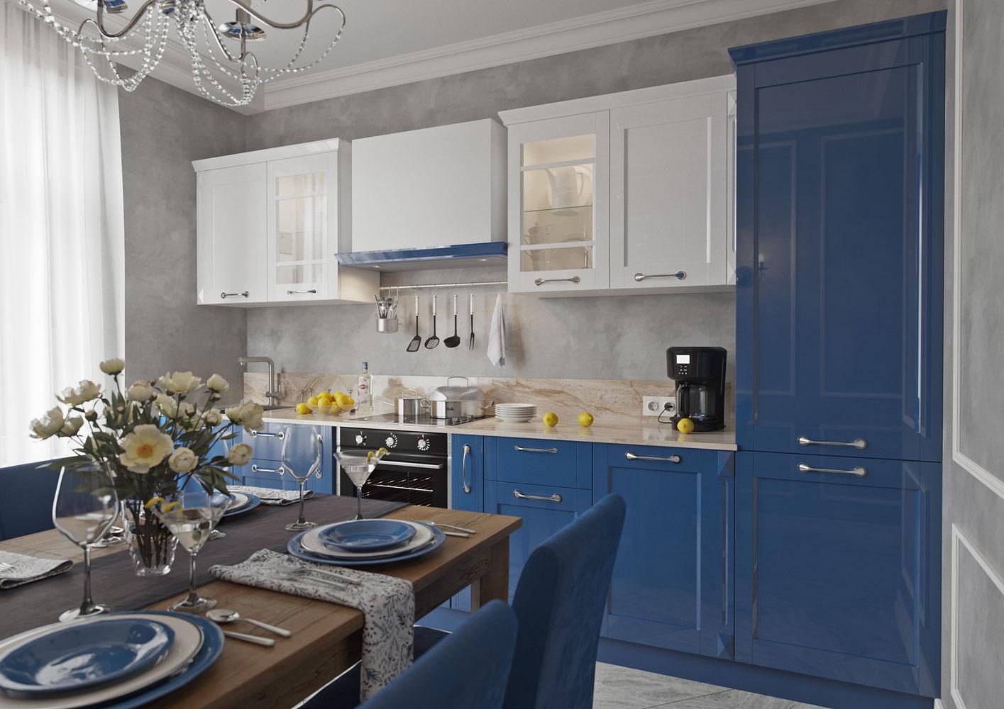 обои для дизайн кухни в синих тонах фото образ для фотосессии