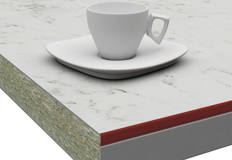 Столешницы Слюда - Миланский мрамор кромка 3D-Acryl бордовый