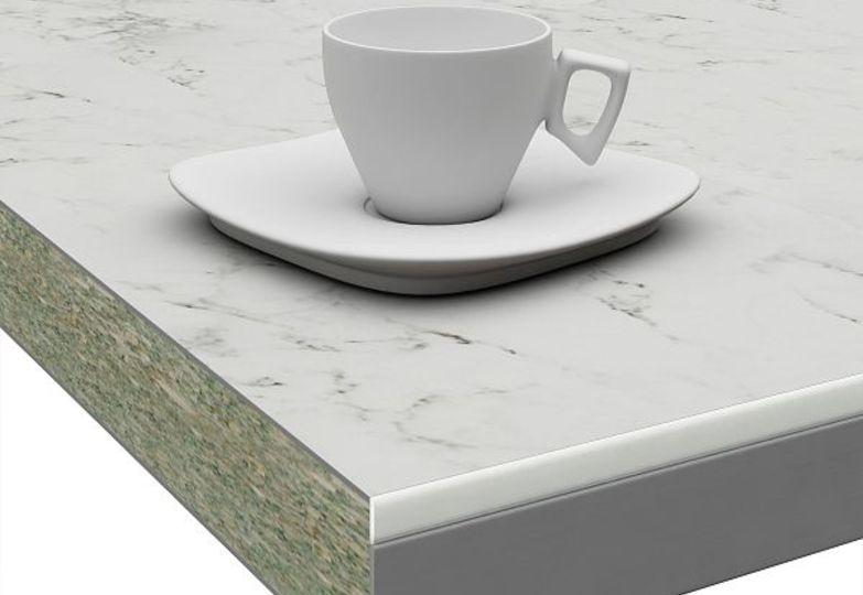 Столешницы Слюда - Миланский мрамор кромка 3D-Acryl белый